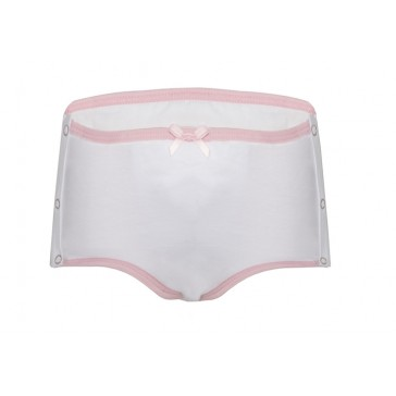 Girls Training Brief with side fastenings - Children's absorbent Incontinence Underwear - White – front view of pant