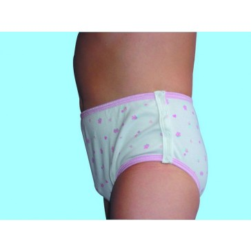 Girls Training Brief with side fastenings - Children's absorbent Incontinence Underwear - Pink Hearts Pattern