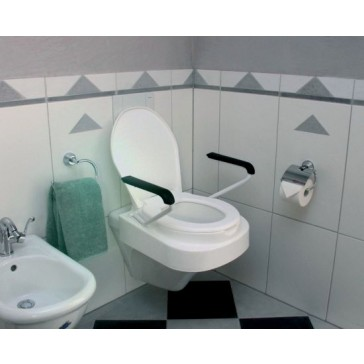 Relaxon Raised Toilet Seat with adjustable height and swing back arms