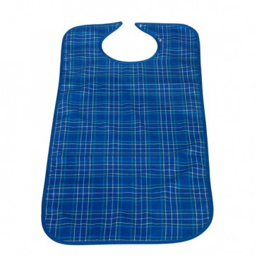 Blue Tartan fabric bib with waterproof backing