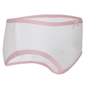Girl's Training Brief - Children's Absorbent Incontinence Underwear - White - Side view of pant