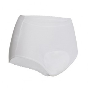 Ladies Super Full Incontinence Absorbent Underwear - White - Front view of brief