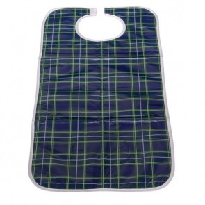 Blue/Green Tartan Long Length PVC Wipe Clean Bib