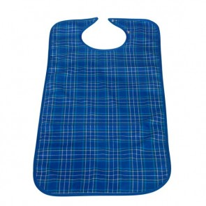 Blue Tartan fabric bib with waterproof backing