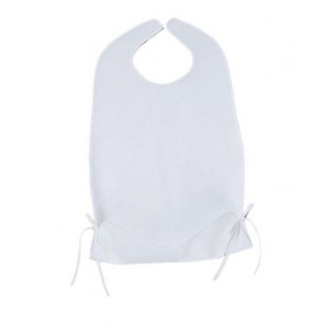 Soft fabric bib with waterproof backing and tie up food catcher